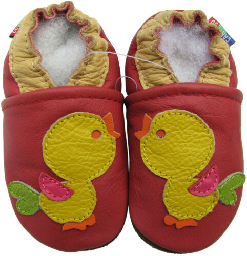 carozoo bird red 18-24m soft sole leather baby shoes