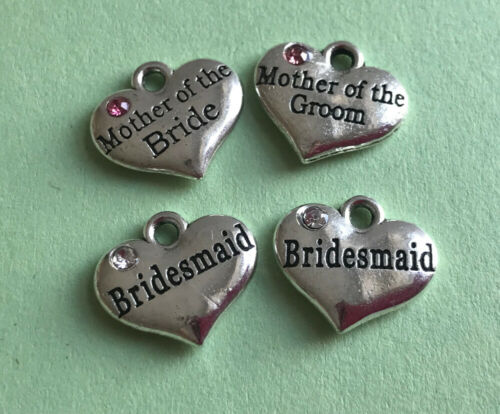 Tibetan Silver Heart Rhinestone Pendants Charms Bridesmaid Mother of the Brid...