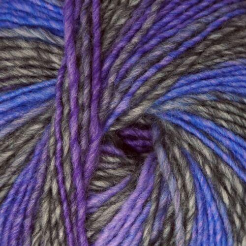 """ADRIAFIL zebrino /""""Multi púrpura elegante 066/"""" tejido de lana peinada Aran Hilo 50g"""