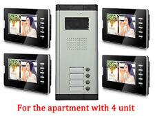 4 Unit Apartment Intercom Access System 7'' Monitor Audio Wired Video Door Phone