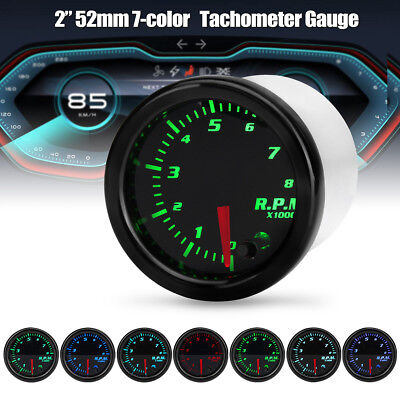 7 Colors 2/'/' 52mm Car Tacho Tachometer Gauge Digital RPM LED Light Meter Pointer