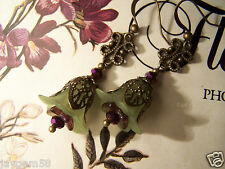 LUCITE FLOWER EARRINGS VINTAGE STYLE STEAMPUNK