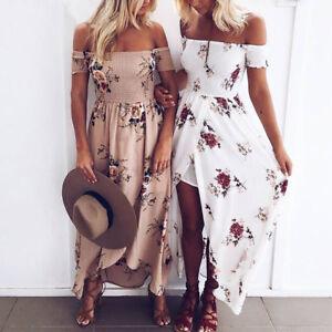Womens-Off-The-Shoulder-Floral-Long-Maxi-Dress-Summer-Beach-Party-Sundress-AU