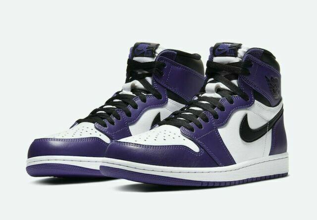 Nike Air Jordan 1 Retro Casual Shoes for Men, Size 10 - White/Purple