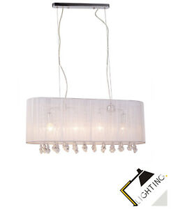 Moderner-Haengelampe-Glamour-Lamps-Deckenlampe-Stoff-LED-Pendelleuchte-Luster-NEU