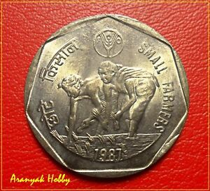 INDIA-1-Rupee-1987-copper-nickel-Small-Farmers-rare-unc-Kolkata-Mint-coin