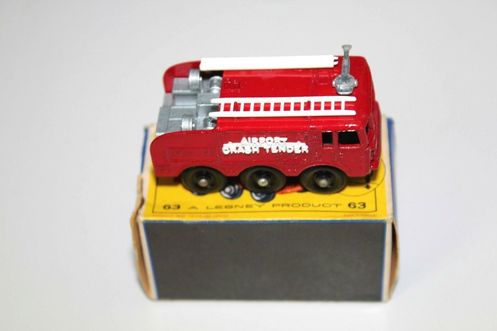 A Matchbox Fire Fighting Crash Tender Number 63 boxed in near mint condition