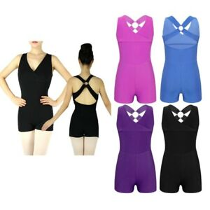 81ed17c92a85 Girls Kids V Neck Backless Ballet Leotard Dancewear Gymnastics ...