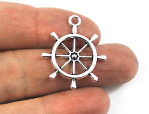 Antique Silver Tibetan Metal SHIPS WHEEL NAUTICAL Charms Pendant Bead Craft Card