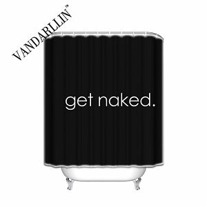 Get Naked. Black - Decorative Fabric Shower Curtain Bathroom Accessories Inch