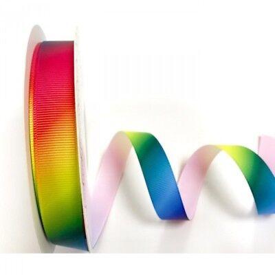 16mm Bertie/'s Bows Rainbow Print Polyester Grosgrain Craft Ribbon