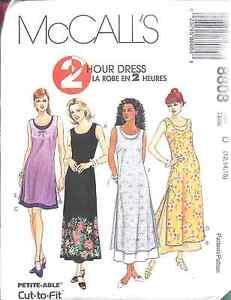 8808-UNCUT-McCalls-SEWING-Pattern-Misses-2-Hour-Dress-Spring-Summer-SEW-OOP-FF