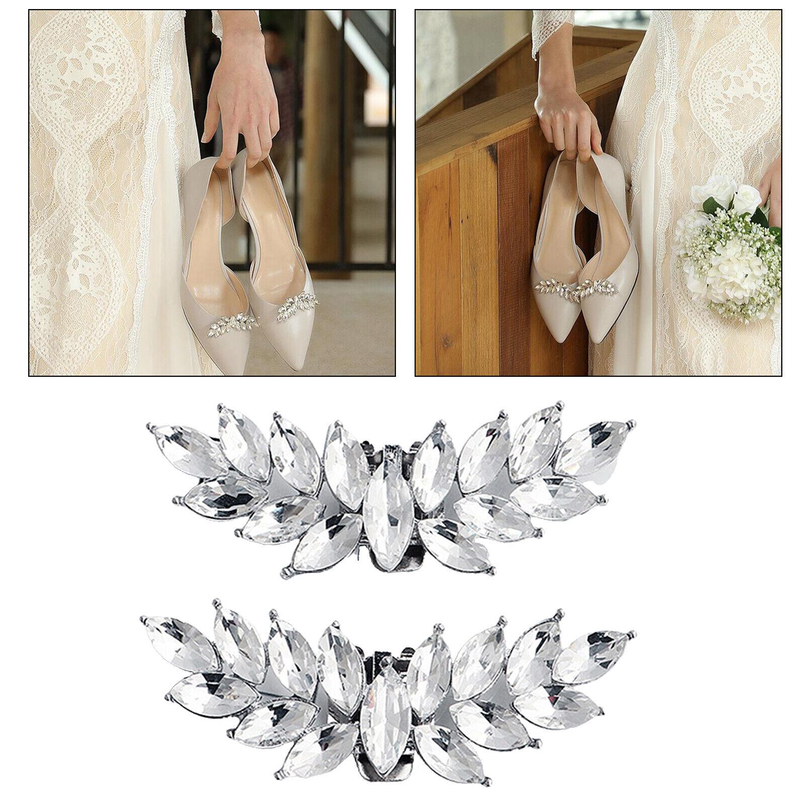 1 Pair of Rhinestone Bridal Wedding Party Shoes Shining Buckle Clips DIY