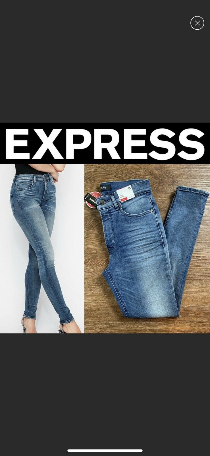 NEW EXPRESS HIGH WAISTED DISTRESSED ORIGINAL VINTAGE SKINNY ANKLE JEAN, SIZE 8R
