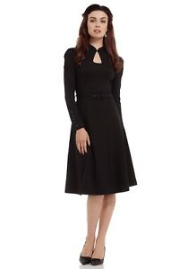 Flared-Black-Vintage-Dress-VOODOO-VIXEN-50s-With-Cut-out-DRA8275-UK
