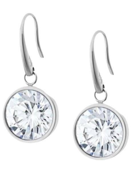 7ef563737 MICHAEL KORS Womens Silver Tone Drop Earrings Large Single Stone MKJ5507040  +BOX