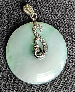 Jadeite-Open-Circle-75-034-Sterling-Silver-Pendant-Flower-Cubic-Zirconia-Burmese