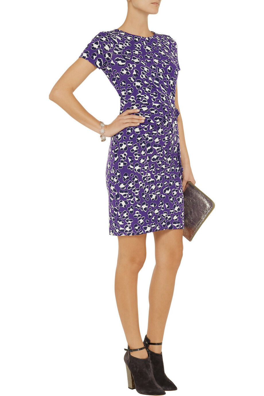 Diane Von Furstenberg ZOE' spotted cat cat cat PRINT SILK JERSEY SHEATH  DRESS 6 94e10c