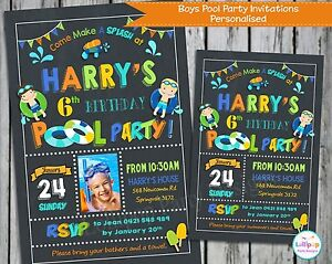 Pool Party Invitations Invite Summer Boys Girl Personalised
