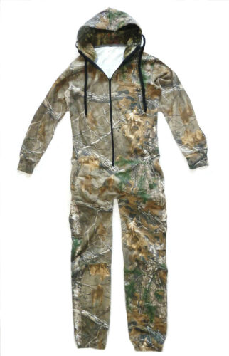 GENTS OAK TREE CAMO JUMP SUIT cotton Mens hunters warm thermal all in one onesie