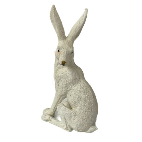 Vintage White Resin March Rabbit Hare Garden Patio Lawn Statue Figure Ornament