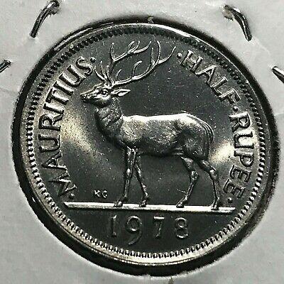 KM37.1 Mauritius 1978 1//2 Rupee Uncirculated