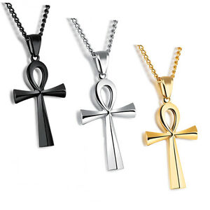 Men-Women-Gold-Silver-Stainless-Steel-Egyptian-Ankh-Cross-Pendant-Necklace-Chain