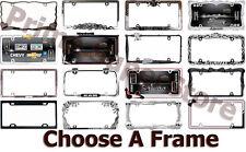 License Plate Frame Metal Chrome O Black Car auto Truck Tag Holder Choose Style