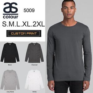 AS-Colour-Long-Sleeve-T-SHIRT-Blank-Plain-Print-Ink-Tee-S-2XL-Mens-Cotton-5009