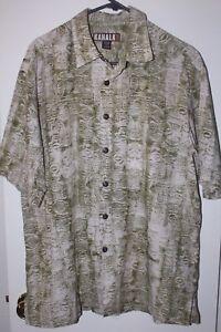 Men-039-s-KAHALA-1936-Rayon-Linen-Blend-Abstract-Green-Hawaiian-Camp-Shirt-Sz-L