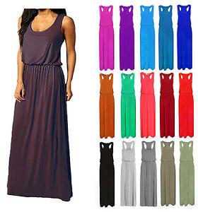 Womens-Maxi-Dress-Ladies-Jersey-Toga-Maxi-Racer-Back-Long-Vest-Maxi-Dress-8-14