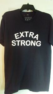 Seibei-t-shirt-EXTRA-STRONG-size-medium-Black-White-Unisex-Fitness-Made-in-USA