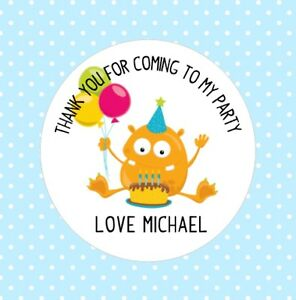 Image Is Loading Monster Birthday Stickers Thank You For Coming To