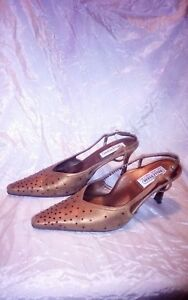 Scarpe decollete in pelle Valleverde n 39 eleganti color bronzo e strass rossi
