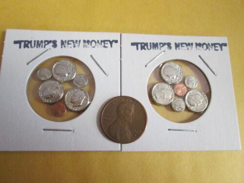 2  MINI COIN sets doll house fake money  Trumps new money