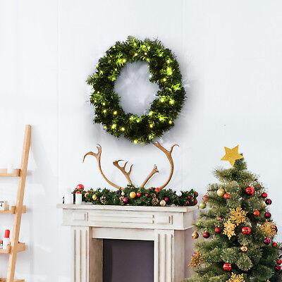 Corona de Navidad Guirnalda Decorativa de Navidad 50 LED Blanco Cálido Φ55cm