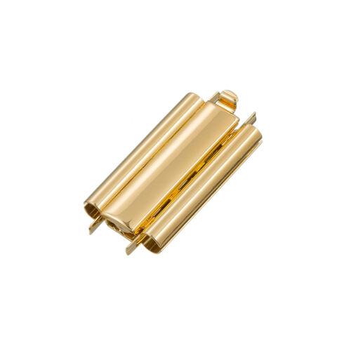 Beadslide simple plaqué or Seed Bead Slider Fermoir 10x24mm (L80/6)