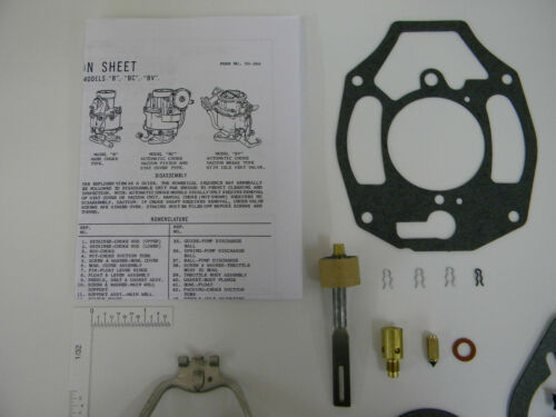 Rochester 1 BBL BC BV B 1932-1962 Carburetor Kit 235 L6 Chevy With Brass Float