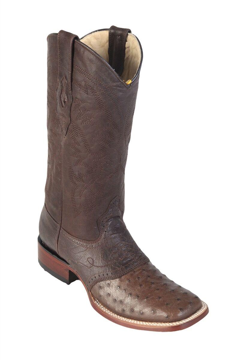 LOS ALTOS BROWN GENUINE OSTRICH SQUARE TOE WESTERN COWBOY BOOT (D) 8210307