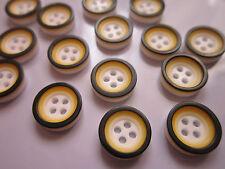 50 x Doppel geschichtet Knöpfe 4 Löcher Harz flach rund, orange, 12 mm