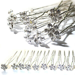 20-30-40-pcs-Clear-Crystal-Flower-Diamante-Wedding-Bridal-Prom-Hair-Pins
