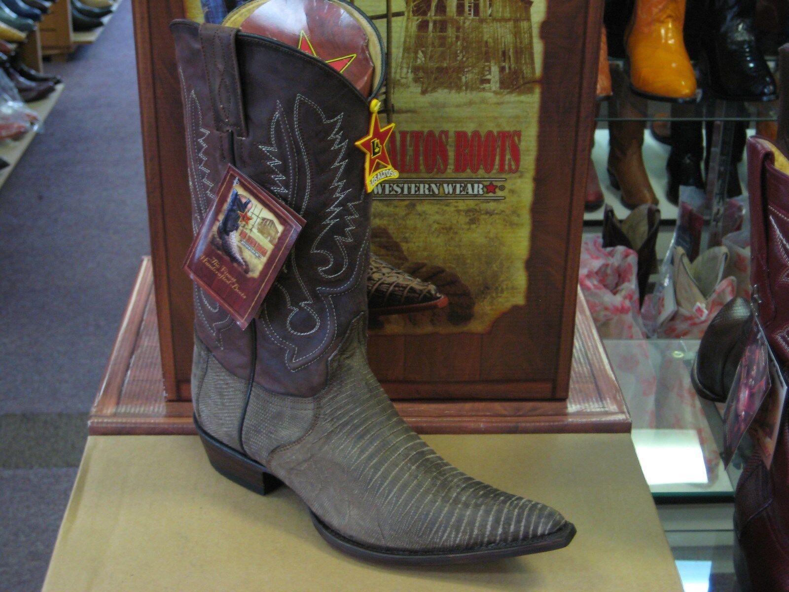 LOS ALTOS BROWN 3X-TOE GENUINE TEJU LIZARD WESTERN COWBOY BOOT (EE) 95EV0735