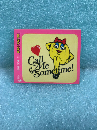 1981 Ms PAC-MAN CALL ME SOMETIME #3 of 54 STICKER CARD RUB OFF WAX PACK