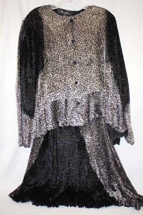 Marian Clayden-CLAYDEN For Neiman Marcus 2Pc Silk Blend Sparkle Skirt Suit,M-B17