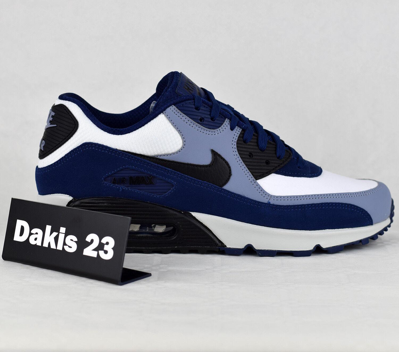 Nike air max 90 uomini di moda moda moda le scarpe da ginnastica nuove pelle blu vuoto 302519-400 c5629a