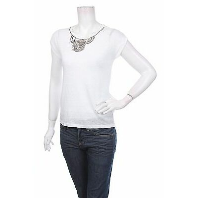 ESPRIT WOMEN'S KNIT TOP LINEN WHITE Size XXS BRAND NEW with TAGS BNWT SRP 40 EUR