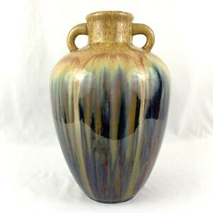 Vintage-Drip-Glaze-Art-Pottery-Vase-Jug-Multicolor-2-Double-Handle-Handmade-13-034