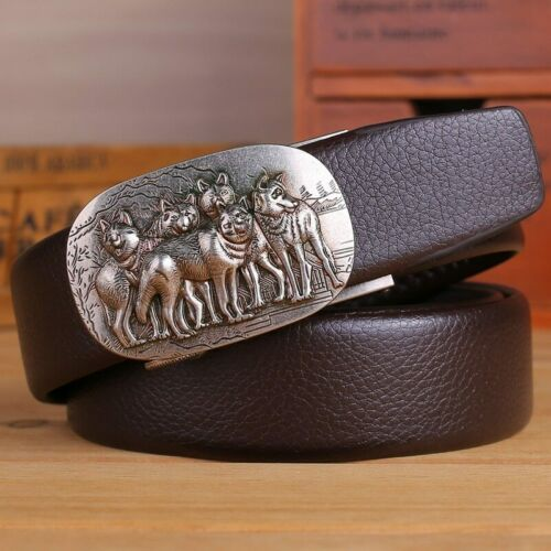 Belt Men High Quality Automatic Men Leather Casual Waist Strap With Wolf Buckle