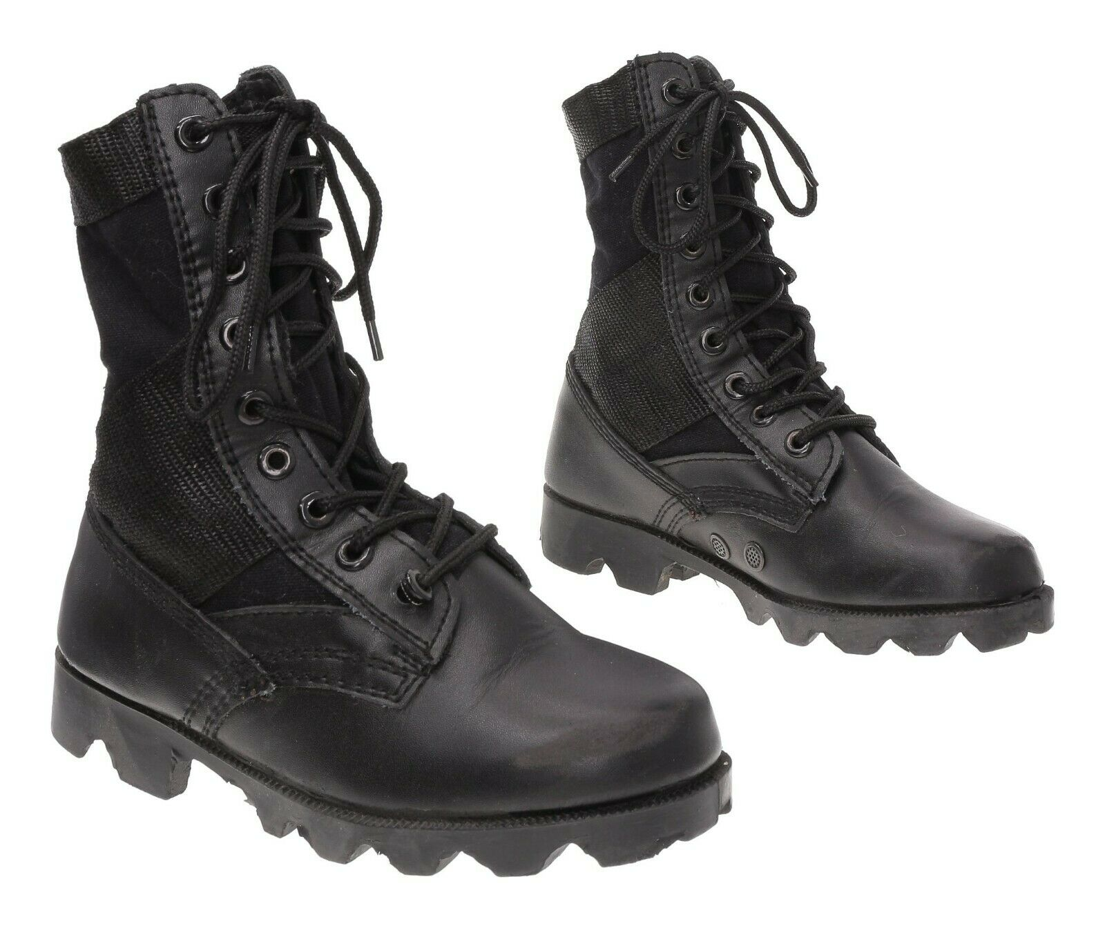 Vtg COMBAT Boots 1 R Youth Black Army Tropical Hot Weather Leather Jungle Boots