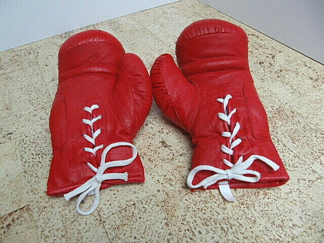 Boxhandschuhe klassisch rot 12 oz Leder mit Schnürung Boxen Handschuhe Sport